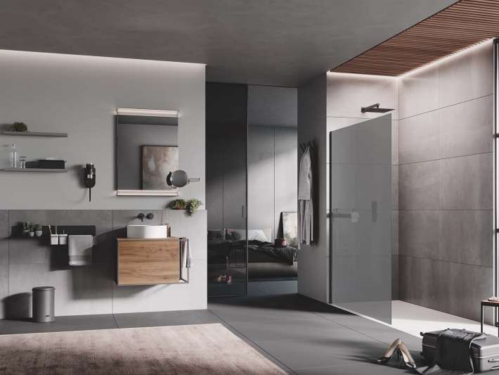 Open combined with accessories and elements of the Lineabeta by Samo.