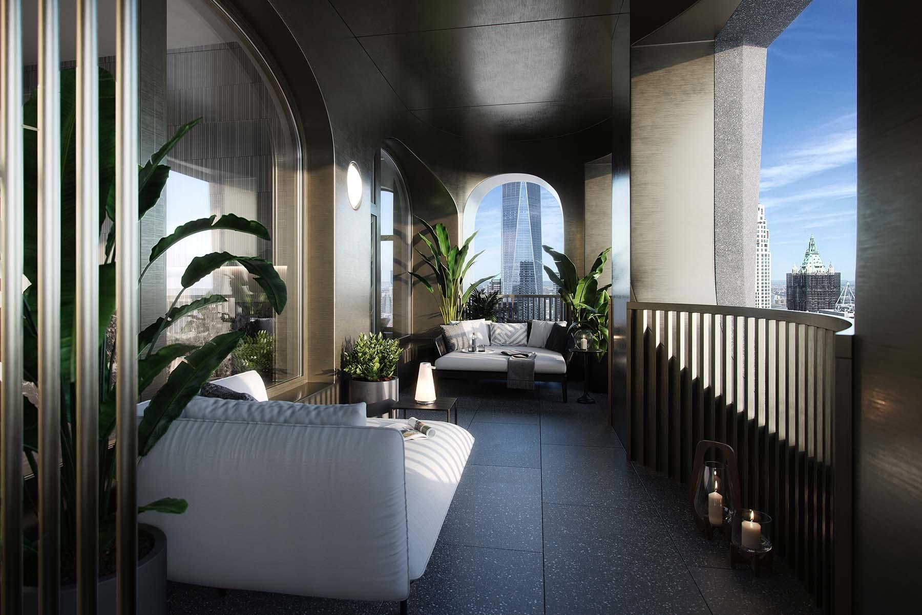 El salón brinda acceso directo a la logia que combina espacios interiores y exteriores.