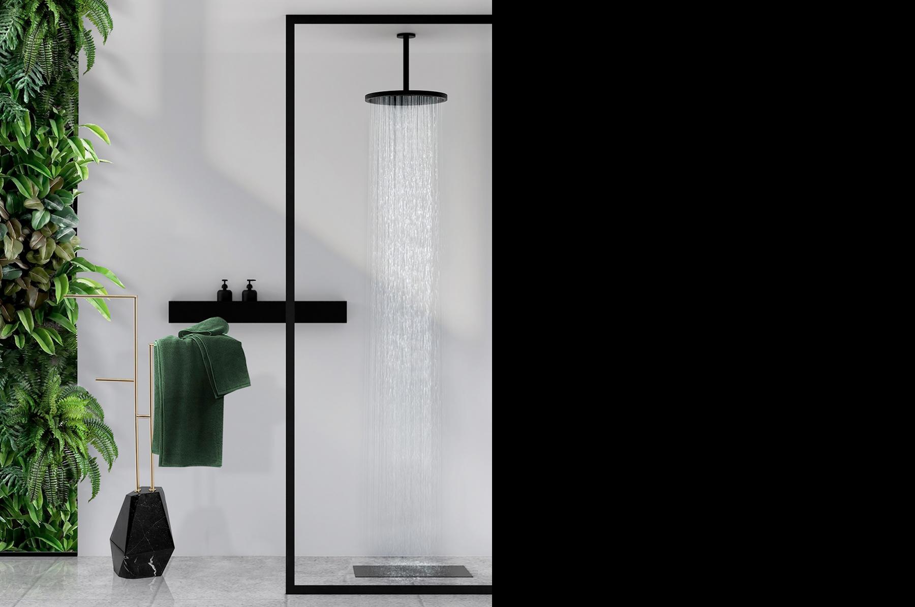 Diseño biofílico en el baño. Diamond Towel Rack de Maison Valentina.