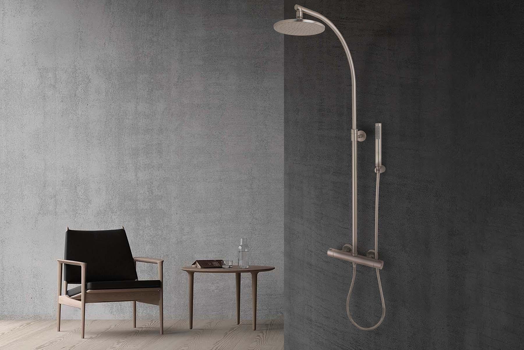 Columna de ducha termostática Mínima en níquel satinado de MZ.