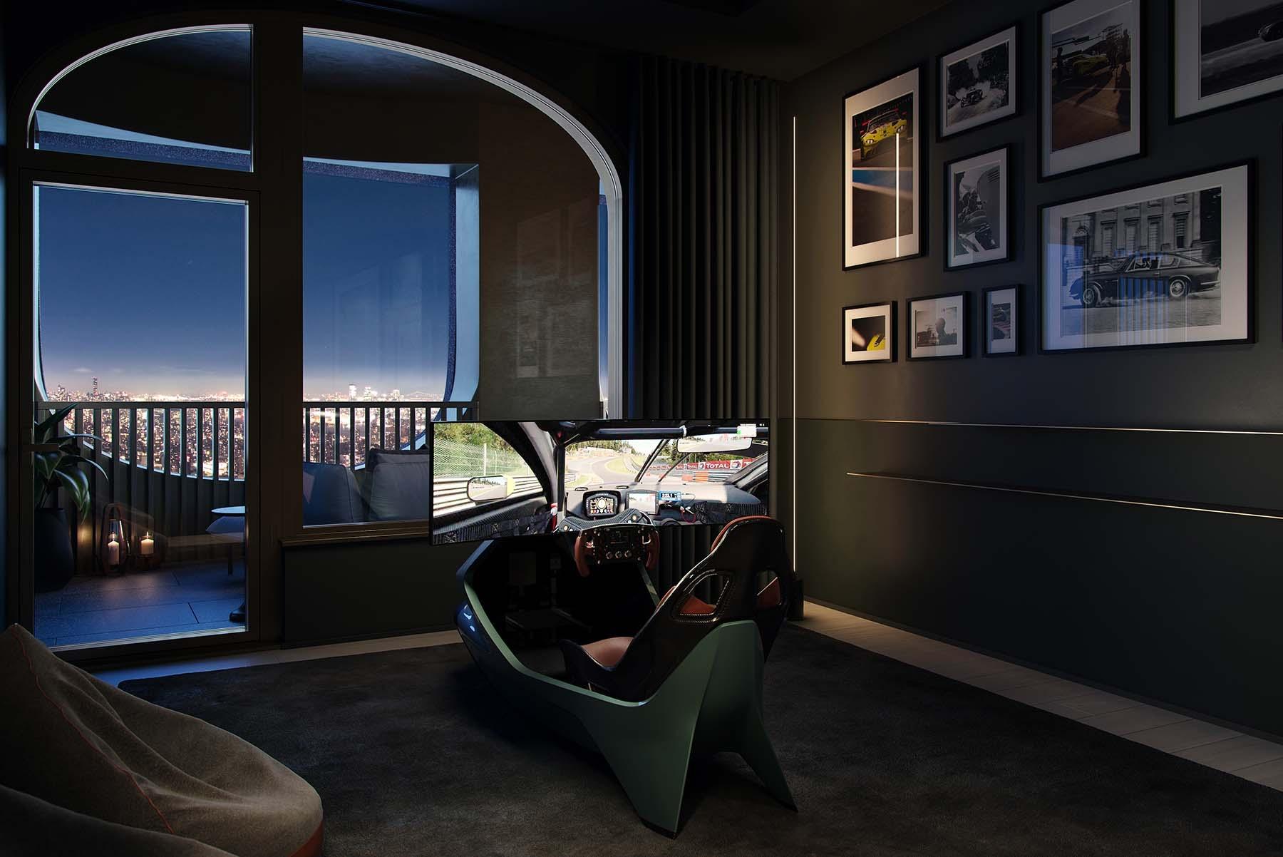 Simulador dentro de una de las viviendas de lujo.